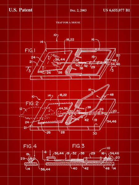 Conn Wall Art - Digital Art - Mouse Trap Patent - Red by Stephen Younts