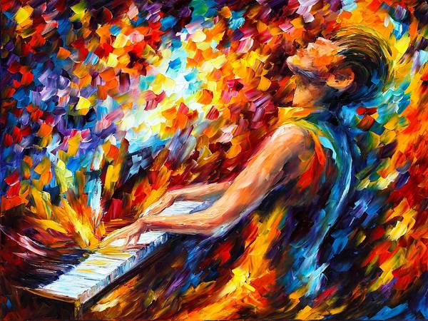 Wall Art - Painting - Music Fight  by Leonid Afremov