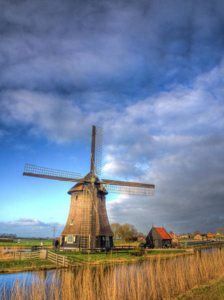 Agrarian Wall Art - Photograph - Netherlands, Nord Holland, Windmill by Terry Eggers