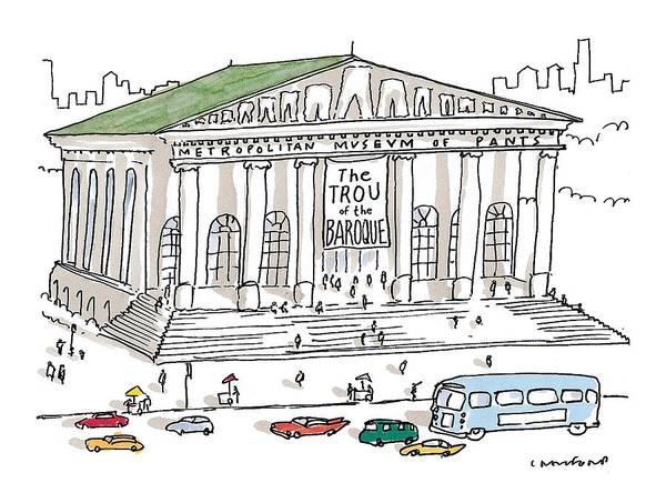 Metropolitan Museum Drawing - New Yorker December 7th, 1998 by Michael Crawford