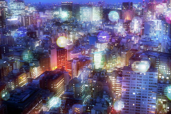 Electricity Generation Photograph - Nightscape In Tokyo With A Lot Of Glow by Hiroshi Watanabe