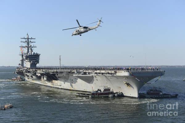 Norfolk Naval Station Wall Art - Photograph - Nimitz-class Aircraft Carrier Uss by Stocktrek Images