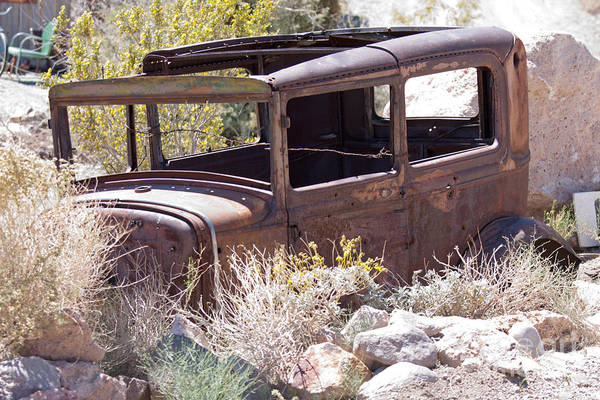 Photograph - old junk car in the nevada desert in Nelson Eldorado Canyon by Gunter Nezhoda