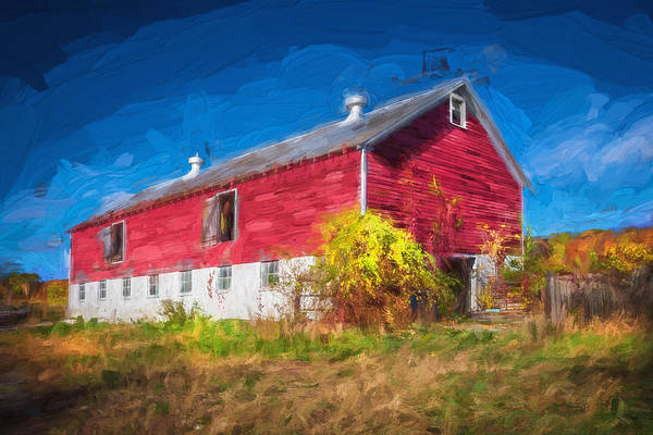 Photograph - Old Red Barn Fall Foliage Sussex County New Jersey Painted   by Rich Franco