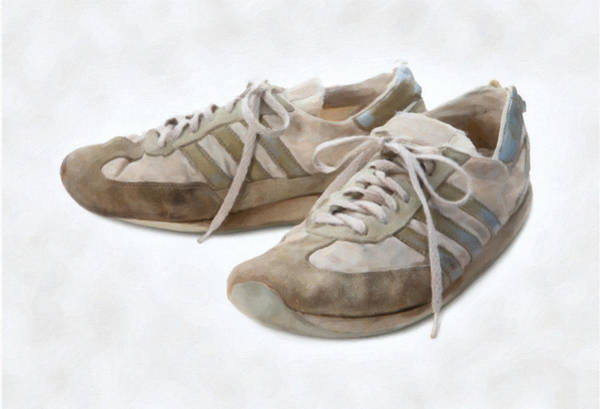 Jogging Painting - Old Running Shoes by Danny Smythe