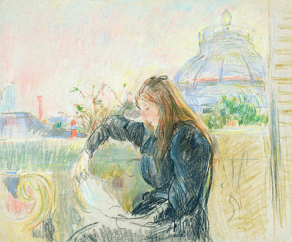 Pastel Drawing Painting - On The Balcony by Berthe Morisot
