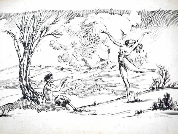 Arcadia Drawing - Pan by Henry Goode