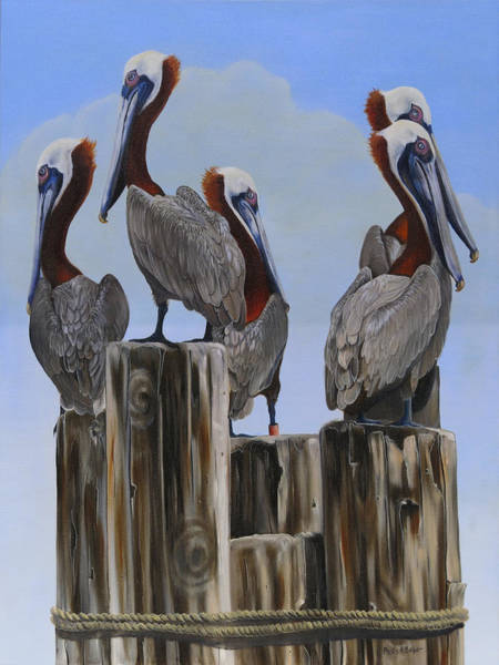Wall Art - Painting - Pelicans Five by Phyllis Beiser