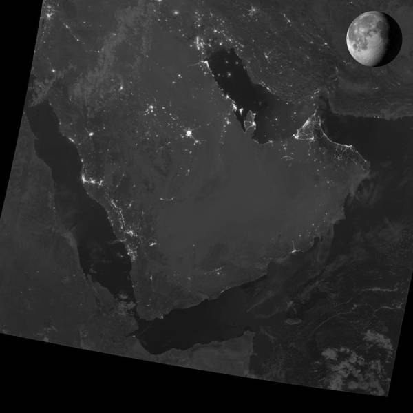 Suomi Photograph - Persian Gulf At Night, Satellite Image by Science Photo Library