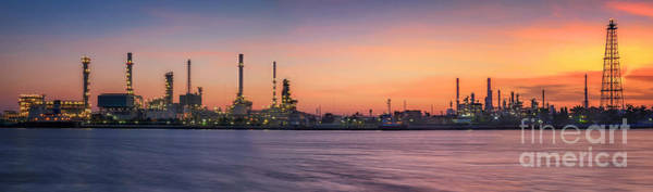 Wall Art - Photograph - Petrochemical Plant In Night Time  by Anek Suwannaphoom