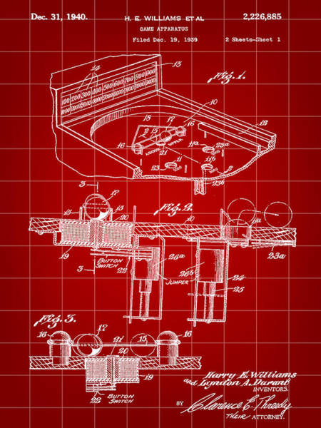 Pinball Digital Art - Pinball Machine Patent 1939 - Red by Stephen Younts