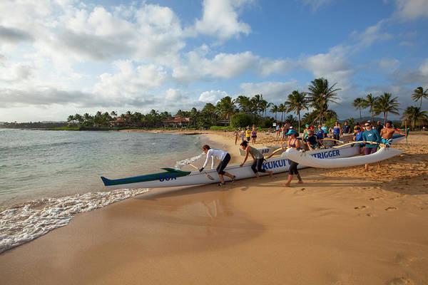 Outrigger Canoe Photograph - Poipu Beach Park, Poipu, Kauai, Hawaii by Douglas Peebles