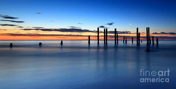 Wall Art - Photograph - Port Willunga Jetty Ruins Sunset by Bill  Robinson