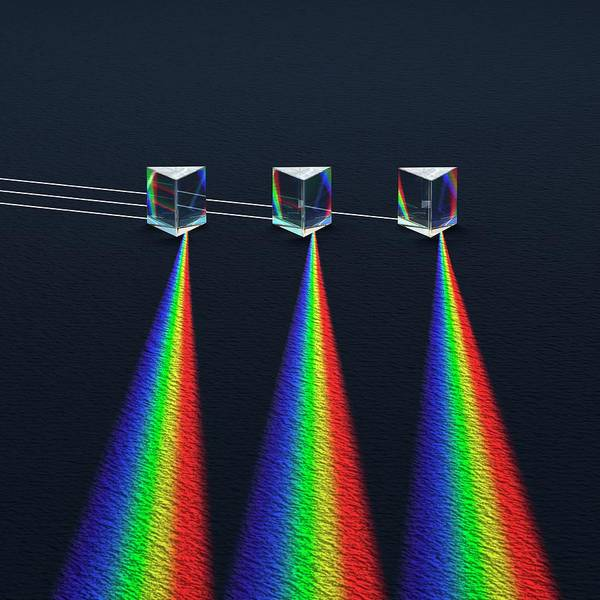 Photograph - 3 Prisms With Refracted Sprectra by David Parker