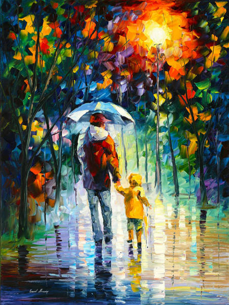 True Love Wall Art - Painting - Rainy Walk With Daddy by Leonid Afremov