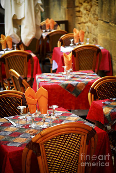 Sidewalk Cafe Photograph - Restaurant Patio In France by Elena Elisseeva