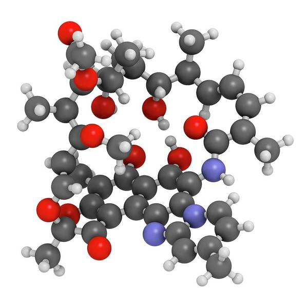 Wall Art - Photograph - Rifaximin Antibiotic Drug Molecule by Molekuul/science Photo Library