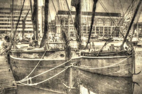 River Thames Digital Art - River Thames Sailing Barges by David Pyatt