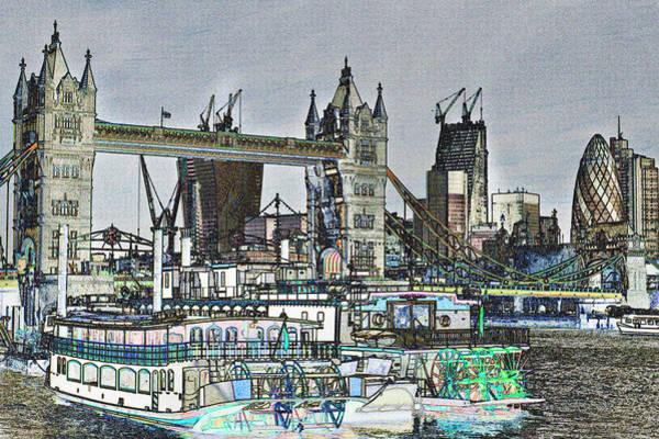 Paddle Digital Art - River Thames Sketch by David Pyatt