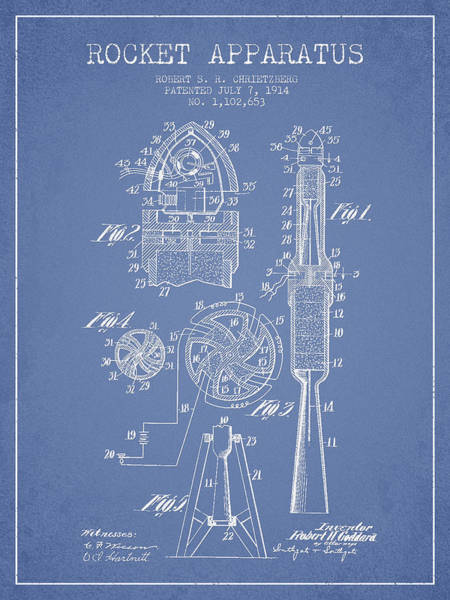 Living Space Wall Art - Digital Art - Rocket Apparatus Patent From 1914 by Aged Pixel