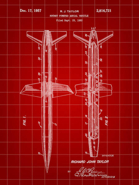 Weaponry Digital Art - Rocket Patent 1953 - Red by Stephen Younts
