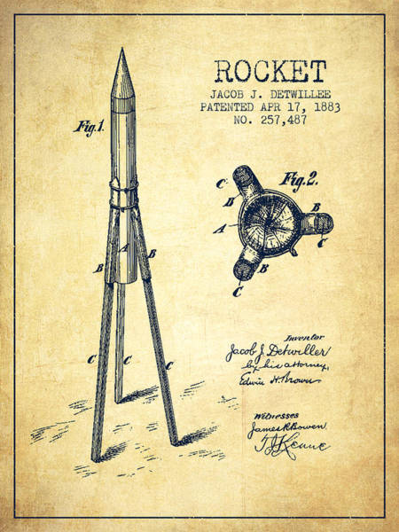 Living Space Wall Art - Digital Art - Rocket Patent Drawing From 1883 by Aged Pixel