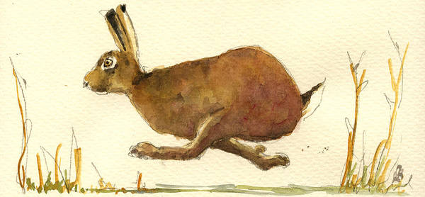 Hare Wall Art - Painting - Running Hare by Juan  Bosco