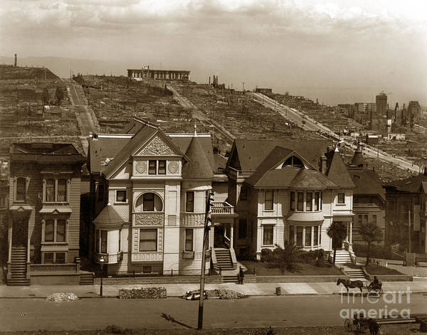 Photograph - Where The Fire Stopped San Francisco Earthquake And Fire Of April 18 1906 by California Views Archives Mr Pat Hathaway Archives
