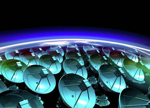 Satellite Receiver Photograph - Satellite Array by Victor Habbick Visions/science Photo Library