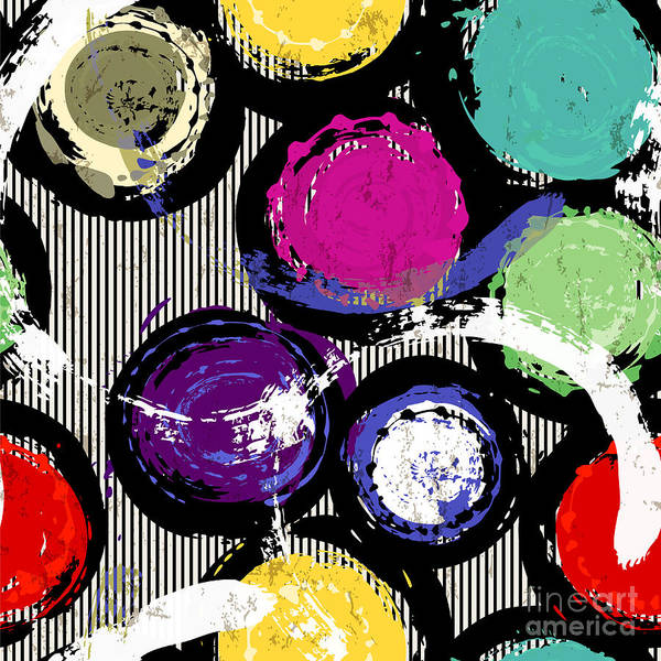 Circle Digital Art - Seamless Background Pattern, With by Kirsten Hinte