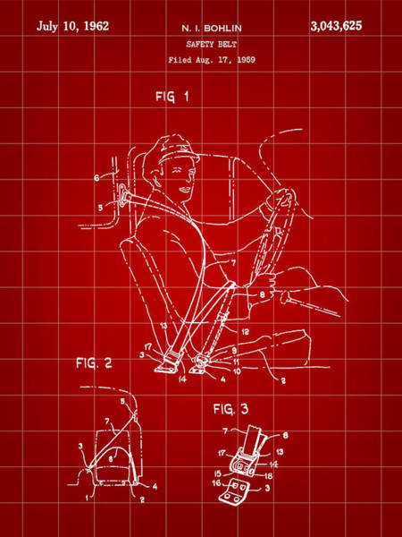 Wall Art - Digital Art - Seat Belt Patent 1959 - Red by Stephen Younts