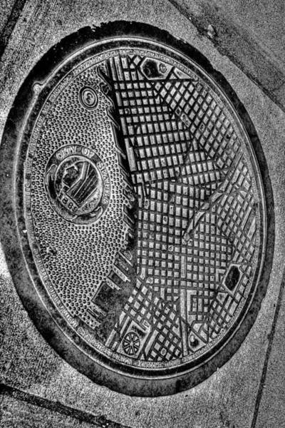 Wall Art - Photograph - Seattle Grid Manhole Cover by David Patterson
