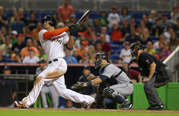 Giancarlo Stanton Photograph - Seattle Mariners V Miami Marlins by Mike Ehrmann