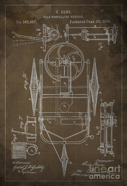 Vehicle Drawing - Self Propelling Vehicle Patented 1888 by Drawspots Illustrations