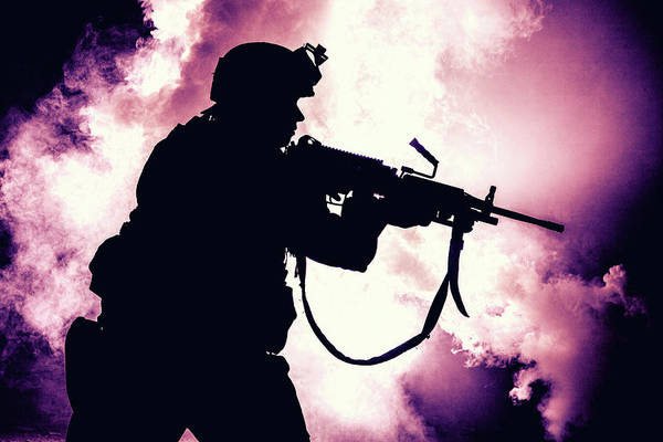 Wall Art - Photograph - Silhouette Of Modern Infantry Soldier by Oleg Zabielin