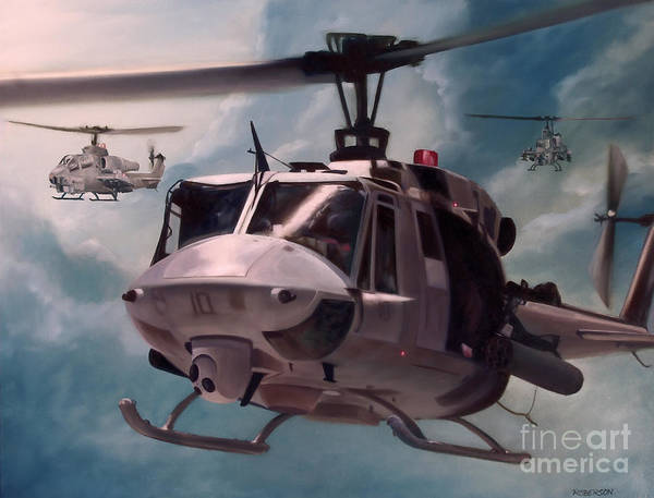 Helicopter Painting - Skid Kids by Stephen Roberson