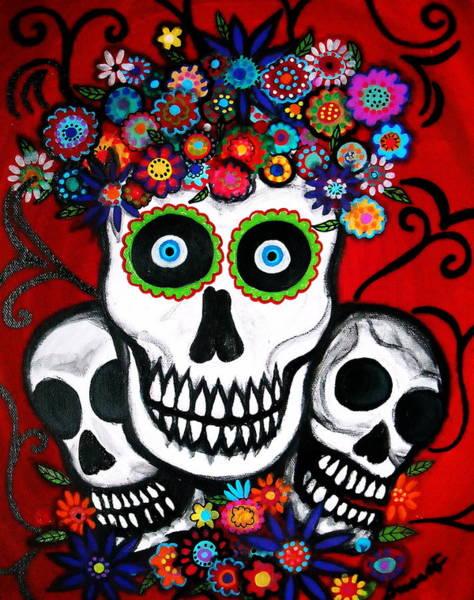 Harana Wall Art - Painting - 3 Skulls by Pristine Cartera Turkus