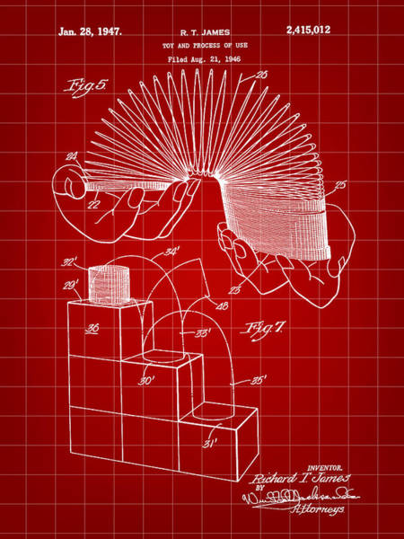 Wall Art - Digital Art - Slinky Patent 1946 - Red by Stephen Younts