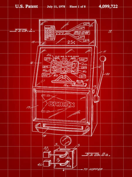 Wall Art - Digital Art - Slot Machine Patent 1978 - Red by Stephen Younts