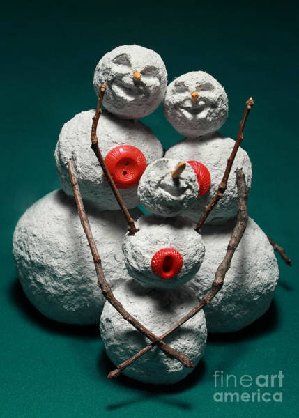 Wall Art - Mixed Media - Snowman Family Christmas Card by Adam Long