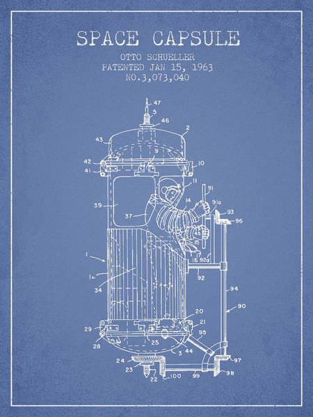 Wall Art - Digital Art - Space Capsule Patent From 1963 by Aged Pixel