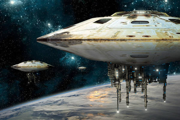 Photograph - Spaceships Invading Earth by Marc Ward