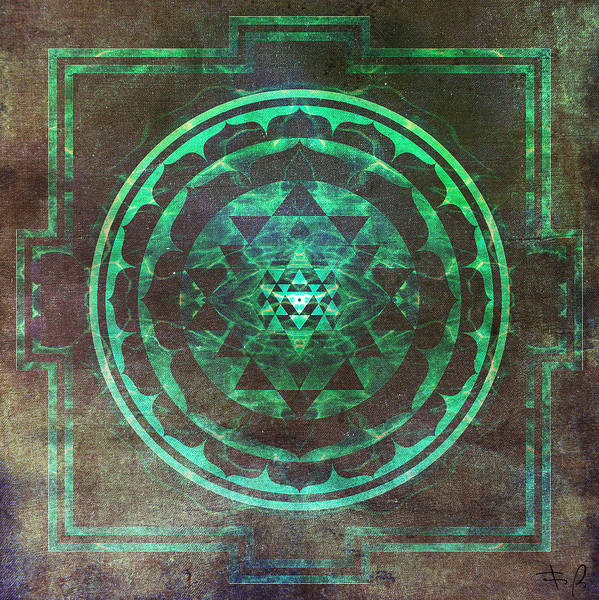Divine Digital Art - Sri Yantra by Filippo B