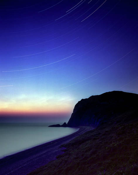 Astronomical Twilight Photograph - Star Trails by Gustoimages/science Photo Library