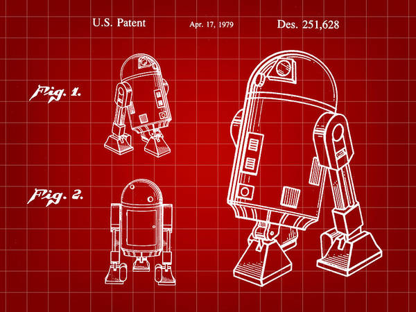 R2-d2 Digital Art - Star Wars R2-d2 Patent 1979 - Red by Stephen Younts
