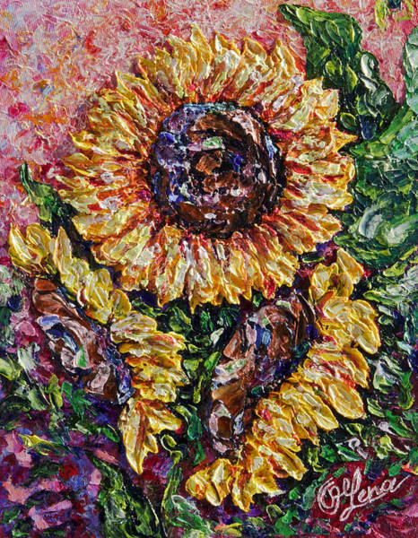 Painting - 3 Sunflowers Abstract  by OLena Art - Lena Owens