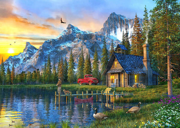 Wall Art - Painting - Sunset At Log Cabin by Dominic Davison