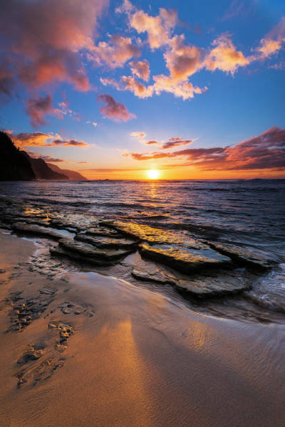 Wall Art - Photograph - Sunset Over The Na Pali Coast From Ke'e by Russ Bishop
