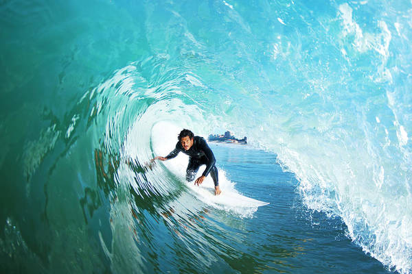 Wall Art - Photograph - Surfer On Blue Ocean Wave by Design Pics Vibe