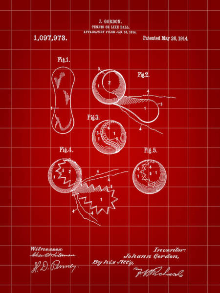Wall Art - Digital Art - Tennis Ball Patent 1914 - Red by Stephen Younts